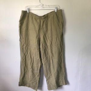 J. Jill Love Linen Green Crop Pants